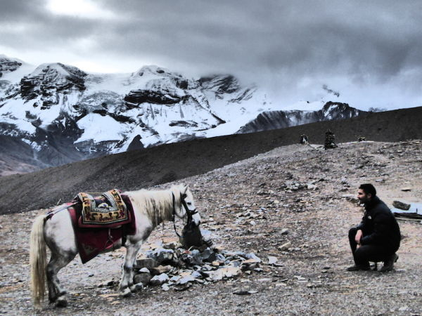 Crossing Thorong La Pass on the Annapurna Circuit - the view from 5,000m