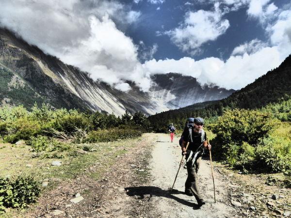 Sebastien trekking near Dhikur Pokhari village