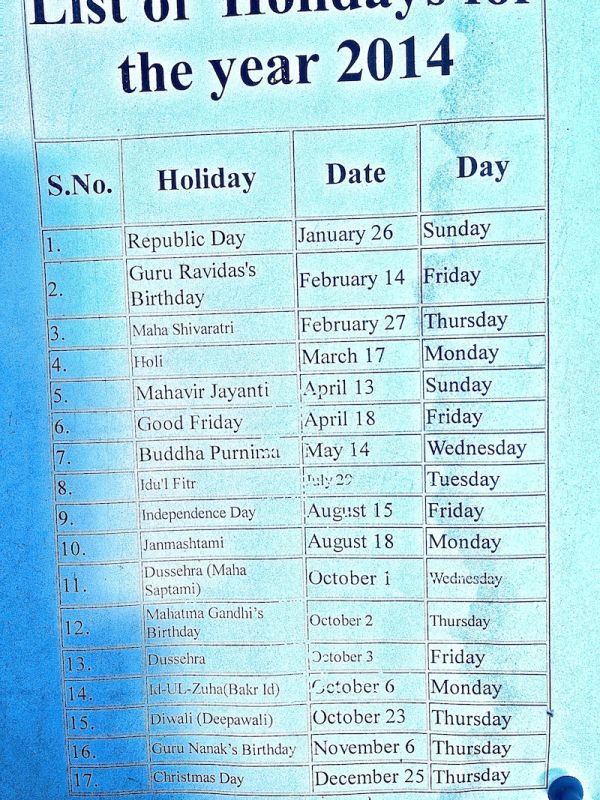 Public holidays list for 2014 advertised at the Visa Centre