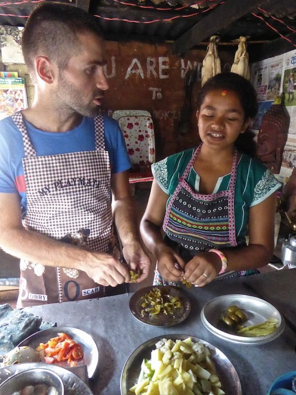 Sebastien and Eanu peeling sour plums