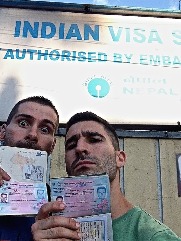 Nomadic Boys selfie with Indian visa