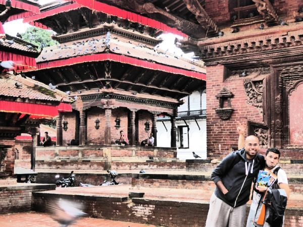 Stefan and our friend Talib posing at the Temples