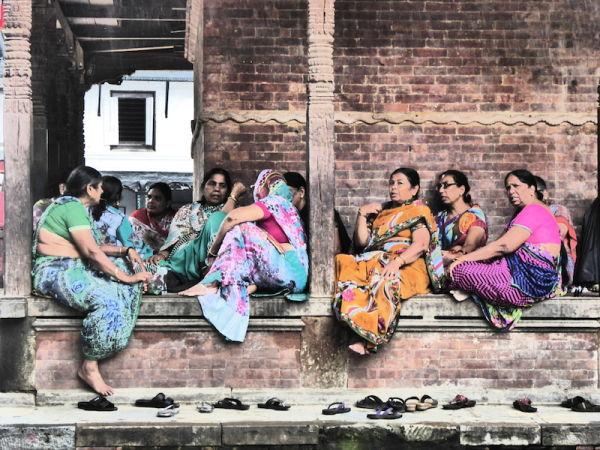 Women chanting at a temple at Durbar Square