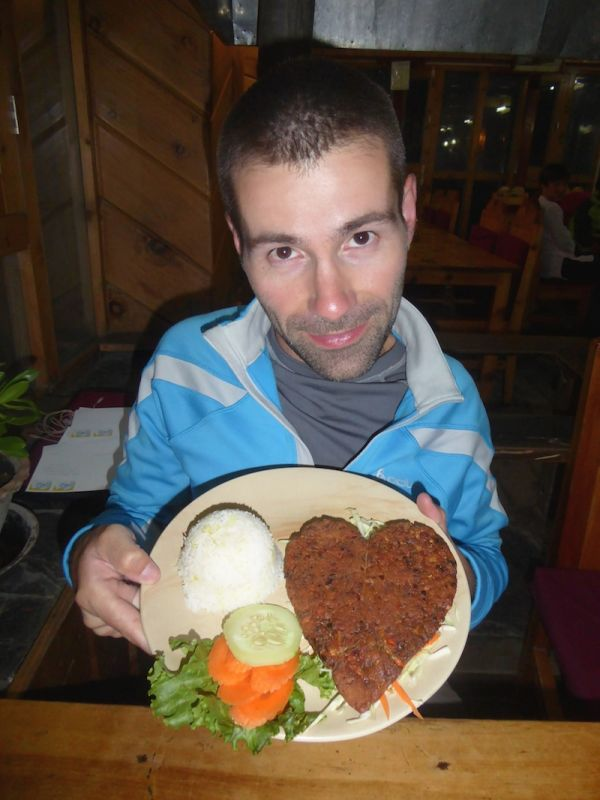 Sebastien posing with cute vegetarian cutlet