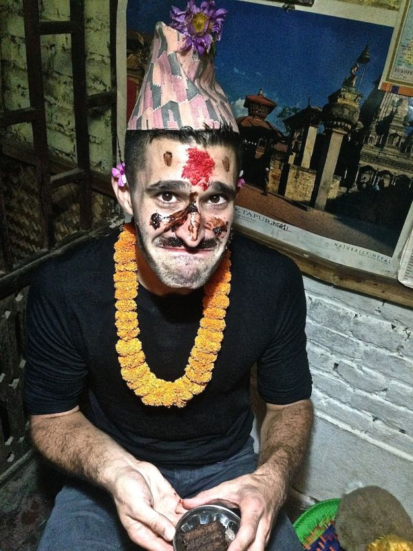 Stefan decorated in Hindu style for his birthday