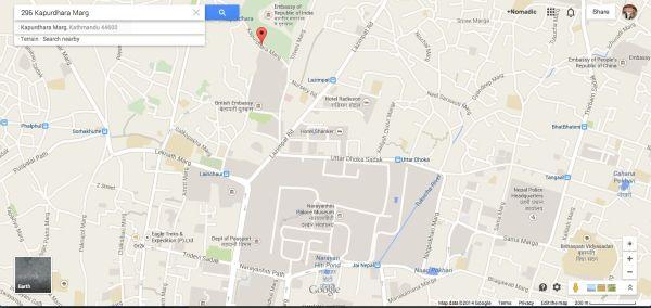Map of the Indian Embassy Visa Centre in Kathmandu