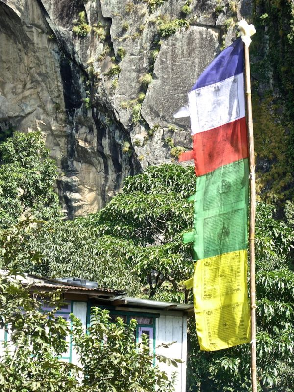 The Buddhist flag in mountain villages