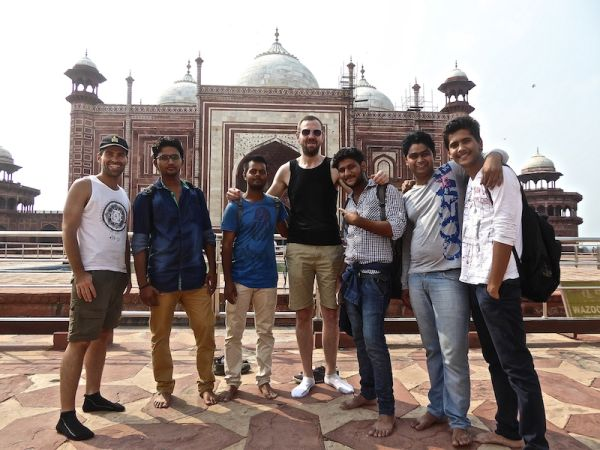 Andrew towering over the Indian boys