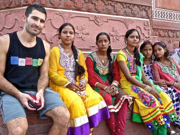 Hate love India bright colours everywhere Taj Mahal Agra