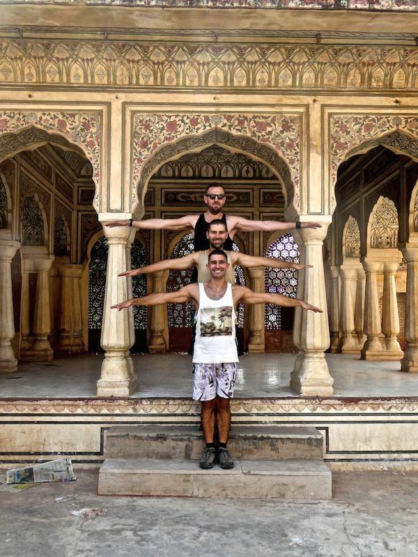 Posing inside the Hawa Mahal Palace