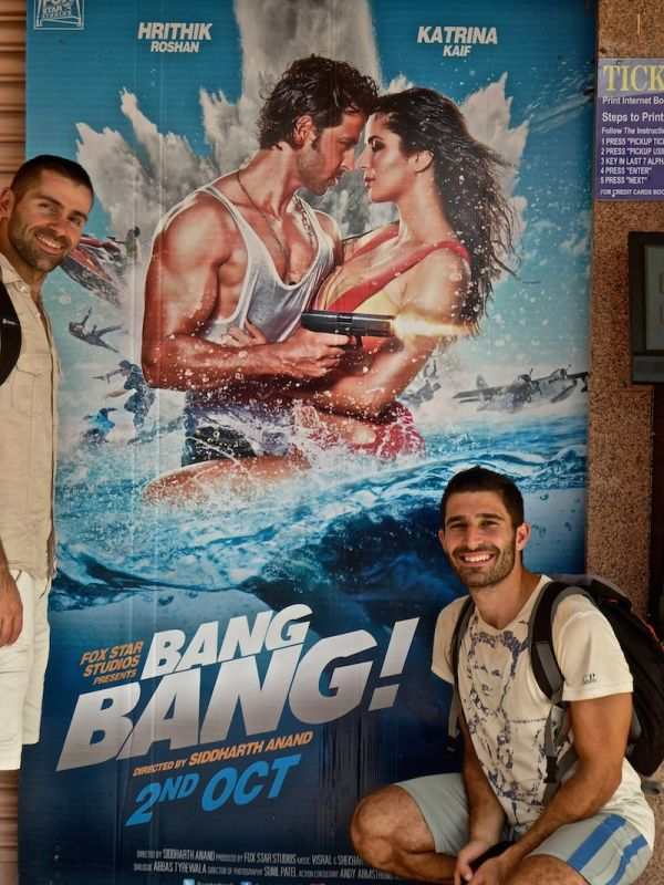 Posing with the poster for Bang Bang