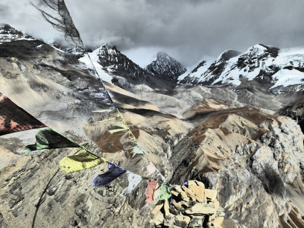 Prayer flags flying high across the Himalayas