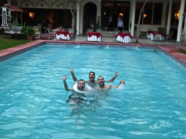 Relaxing at the pool of Hotel Meghniwas