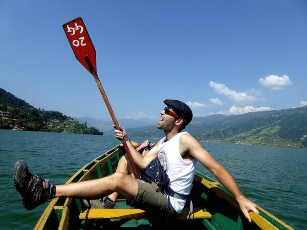 Sebastien's attempt to row our boat across Pokhara's beautiful lake