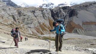Sebastien admiring the views from Thorong La Pass during the annapurna circuit