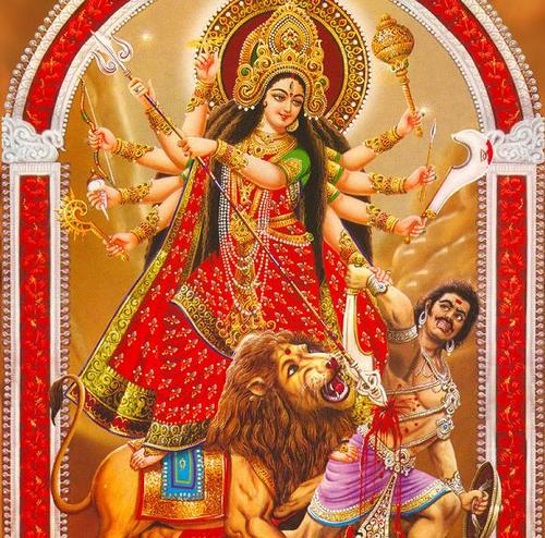 Goddess Durga defeating the evil demon king Mahishasura