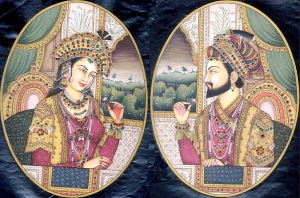 Shah Jahan with his wife Mumtaz Mahal