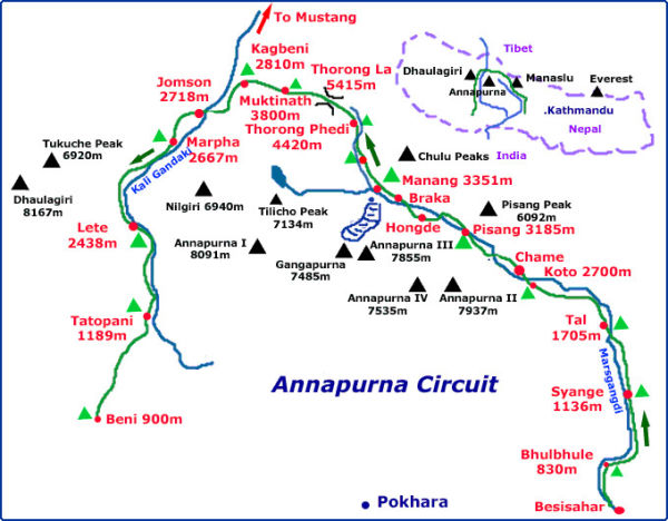 Map of the Annapurna Circuit