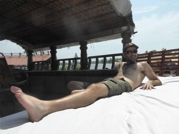 Sebastien relaxing on our houseboat