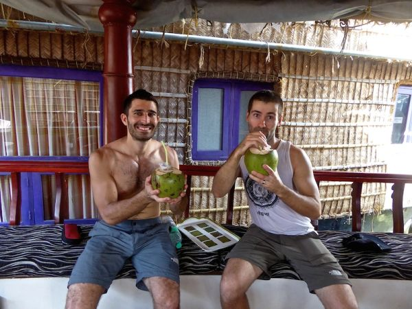 A refreshing welcome on boat with a tasty coconut drink