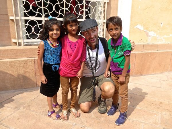 Hate love India Seb and Indian children Mehrangarh Fort in Jodhpur