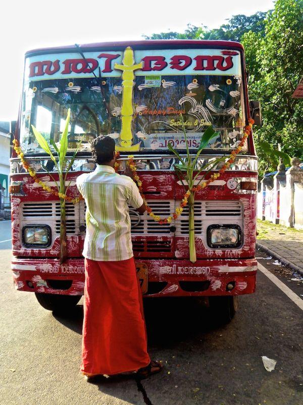 Hate love India colourful bus Kochi Kerala