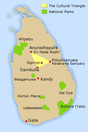 Map of Sri Lanka's popular national parks