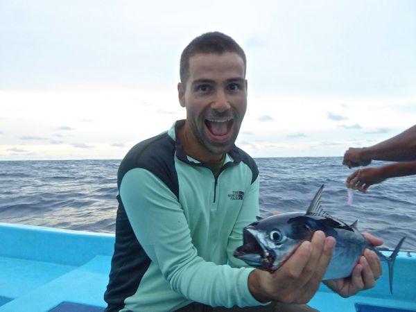 Sebastien caught a tuna fish!