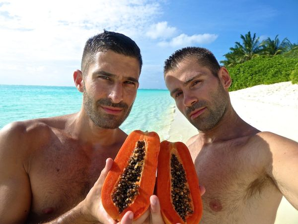 Papaya on the beach