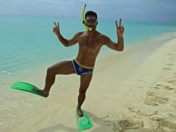 Stefan showing off his snorkelling gear