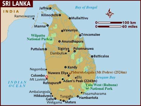 Map of Sri Lanka: train journey from Kandy to Nuwara Eliya