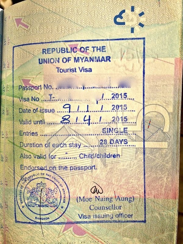 Our visa for Myanmar