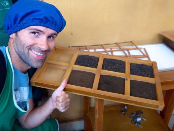 Sebastien at the Pedro Tea Factory in Nuwara Eliya