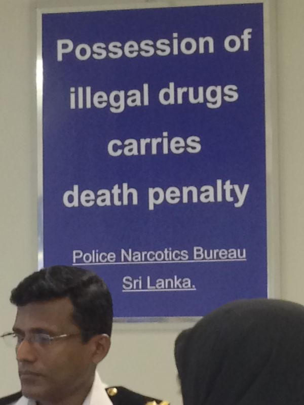 Drugs death penalty sign at Colombo airport