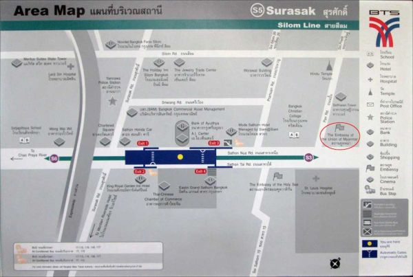 Map of the Surasak area in Bangkok
