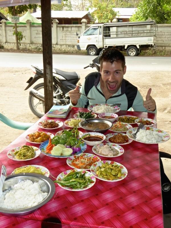 Sebastien getting ready to binge on this Burmese meal