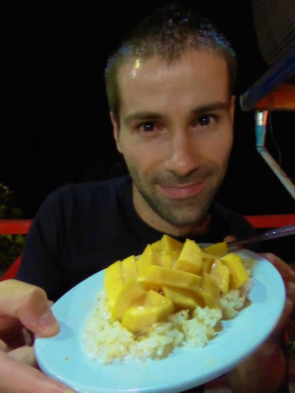 Laotian coconut sticky rice with mango