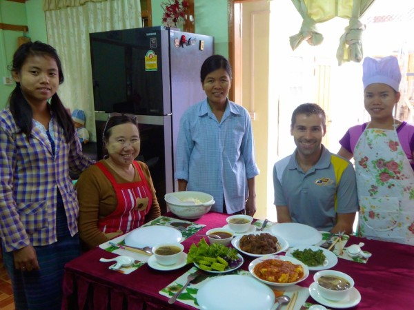 Seb with a typical Burmese meal