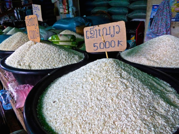 Glutinous rice in the market in Luang Prabang
