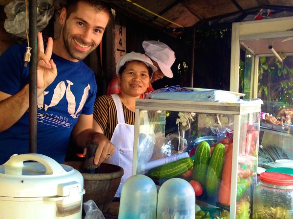 Thai papaya salad popular street food