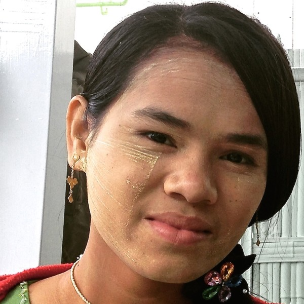 Burmese girl with thanaka face painting