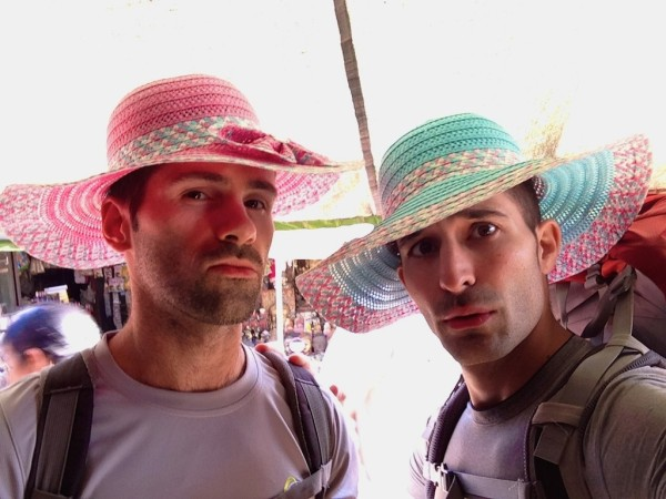 Our new sun hats for our Kalaw trek to Inle Lake