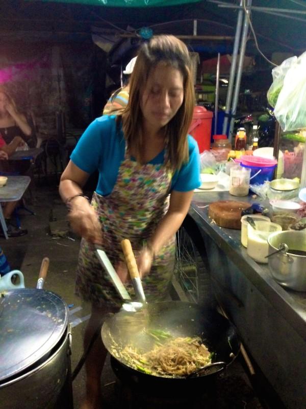 best streetfood in Thailand fresh Pad Thai at Krabi night market