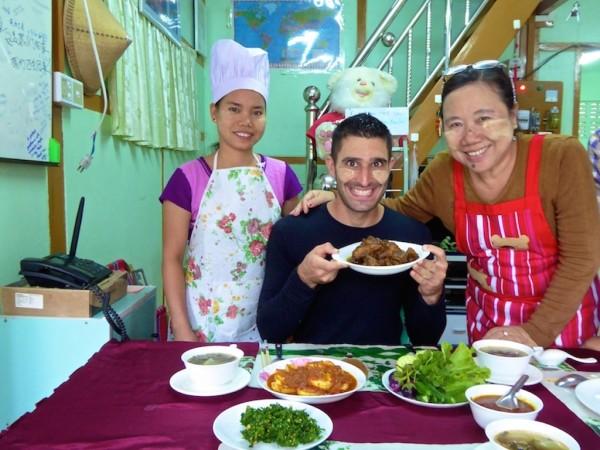 Stefan showing off a freshly made Burmese meal in Mandalay