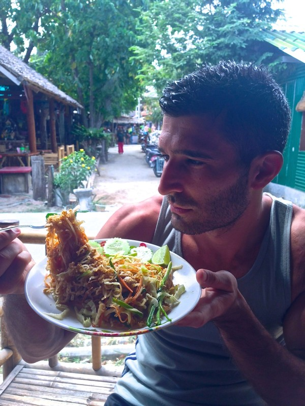 best streetfood in Thailand Stefan with freshly made Pad Thai