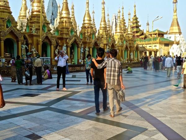 Boys at Yangon's Shwedagon Pagoda
