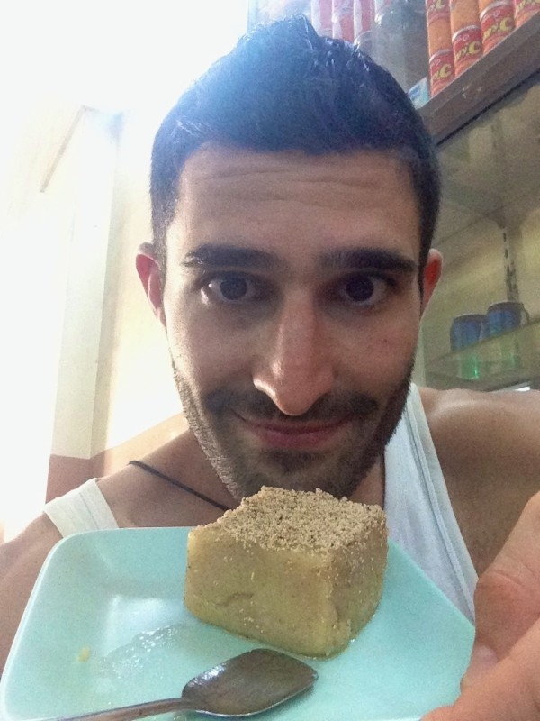 Stefan enjoying a freshly made semolina cake