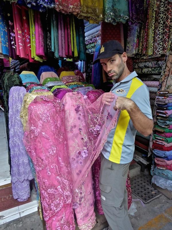 Sebastien shopping for a new dress in Yangon street markets