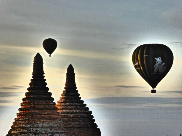 Hot air balloon ride during sunrise in Bagan
