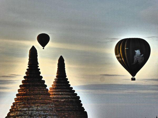 Hot air balloon ride during sunrise in Bagan